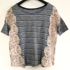 Free People stripes and lace tee shirt size M